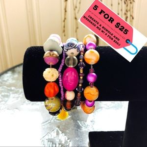 NWT Set of 5 Beaded Stackable Bracelets